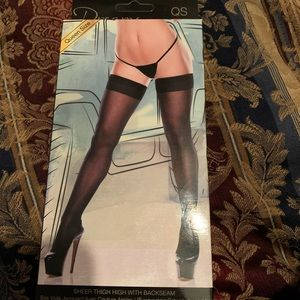 Baci Lingerie Queen Size Thigh Highs Black